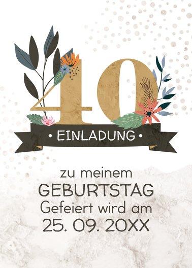 Ansicht 2 - Geburtstagseinladung Blumenzahl 40