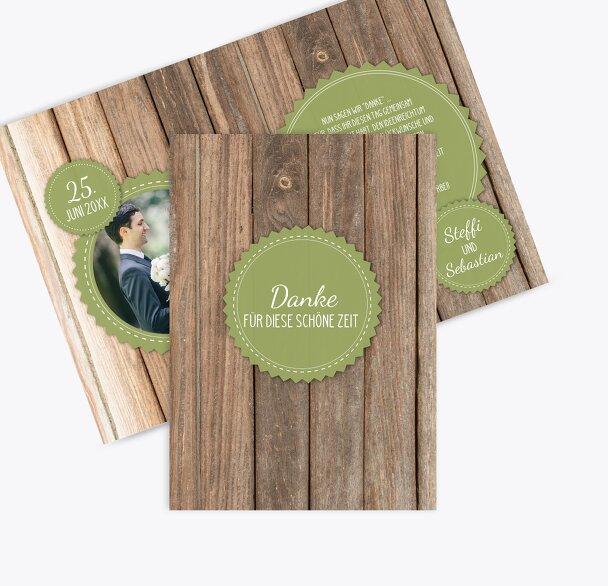 Hochzeit Dankeskarte Vintage Holz