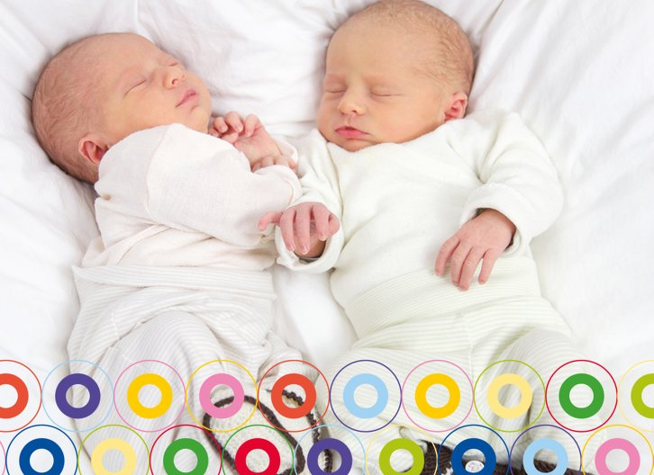 Ansicht 2 - Babykarte Zwillinge bunt