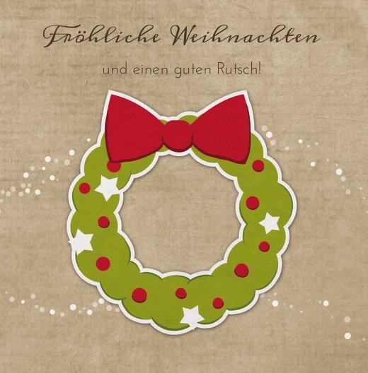 Ansicht 3 - Grußkarte Weihnachtskranz
