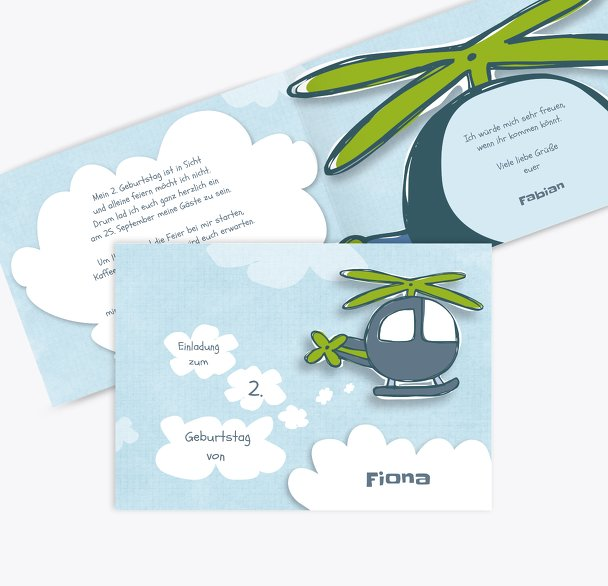 Einladungskarte Hubschrauber