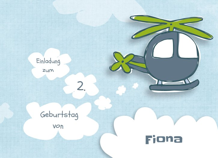 Ansicht 3 - Einladungskarte Hubschrauber
