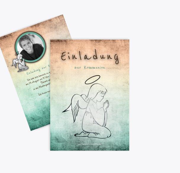 Kommunionskarte grunge Engel