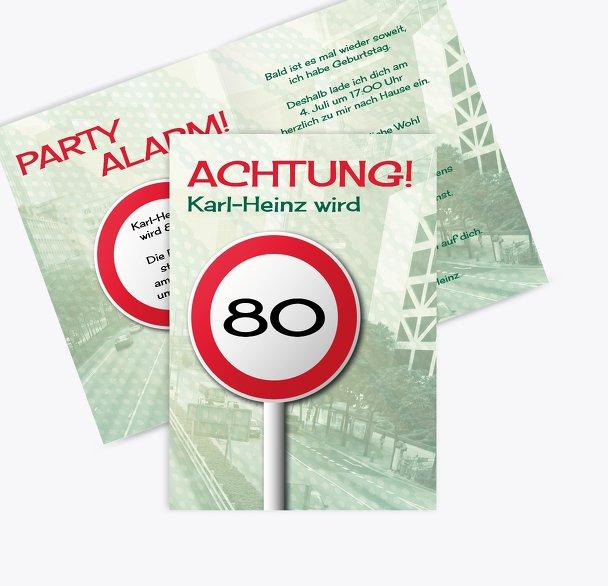 Einladung Begrenzungsschild 80