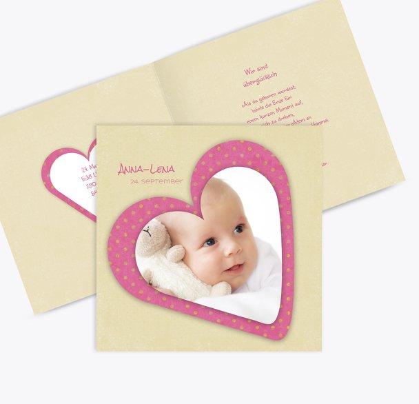 Babykarte Herzform