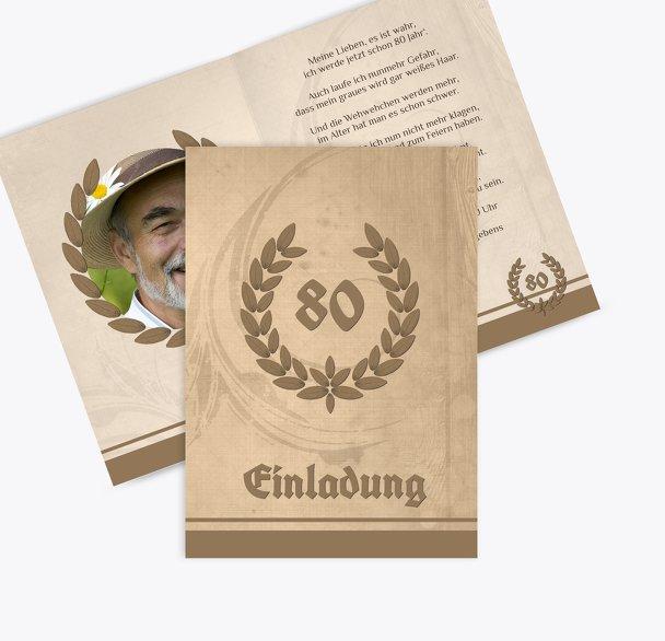 Einladungskarte Lorbeerkranz 80 Foto