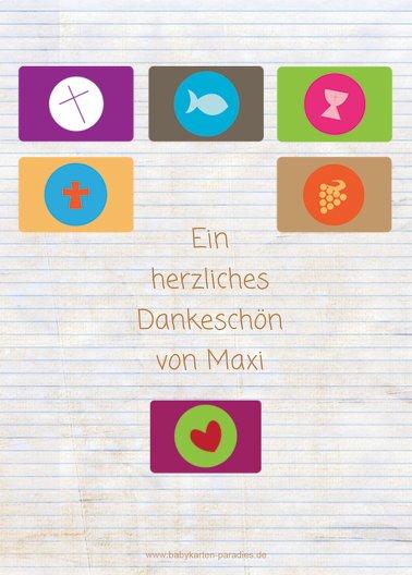 Ansicht 2 - Kommunion Dankeskarte buttons