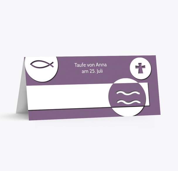Taufe Tischkarte Taufsymbole