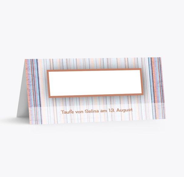 Taufe Tischkarte zarter Farbklang