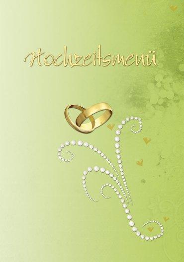Ansicht 3 - Hochzeit Menükarte Eheringe Perlen