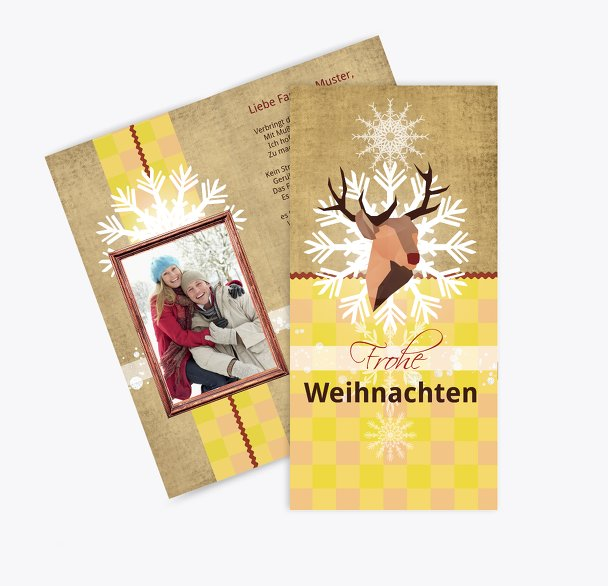 Foto Grußkarte Hirschkopf