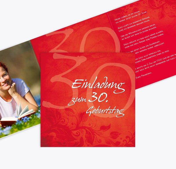 Geburtstagskarte floral verspielt 30 Foto