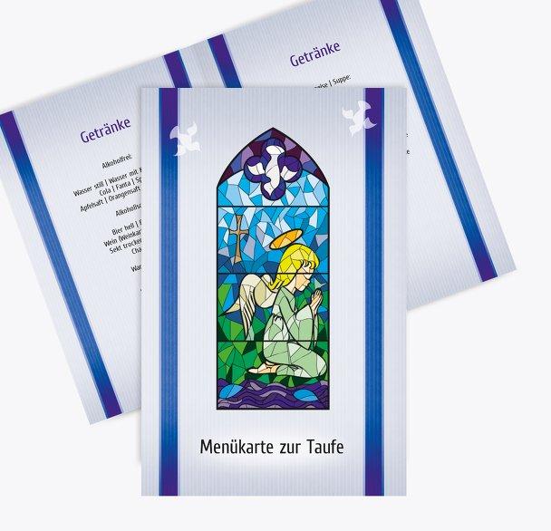 Taufe Menükarte Kirchenfenster