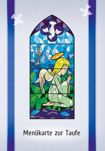 Ansicht 3 - Taufe Menükarte Kirchenfenster