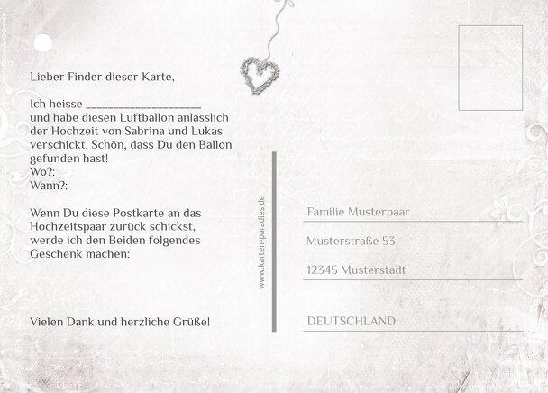 Ansicht 3 - Hochzeit Ballonkarte glamour heart