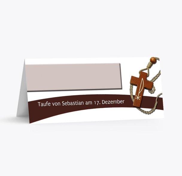 Taufe Tischkarte Kreuz auf Welle