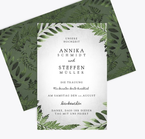 Hochzeit Kirchenheft Umschlag Blätterwerk