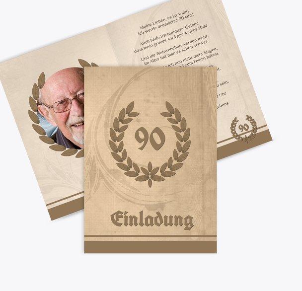 Einladungskarte Lorbeerkranz 90 Foto