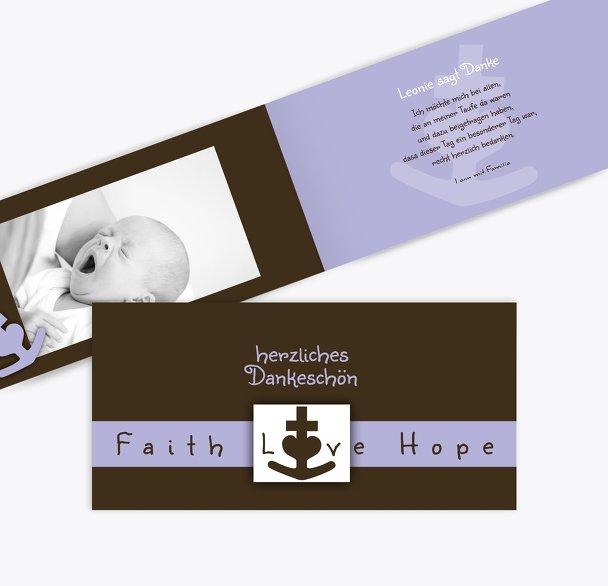 Tauf Dankeskarte faith love hope