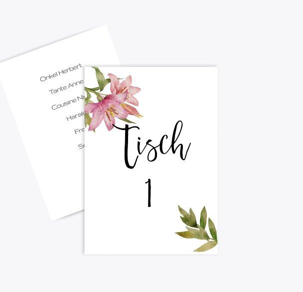 Tischnummern Blumendeko