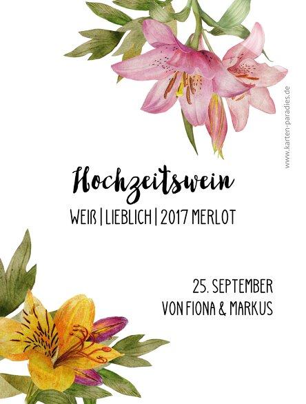 Ansicht 2 - Hochzeit Flaschenetikett Blumendeko