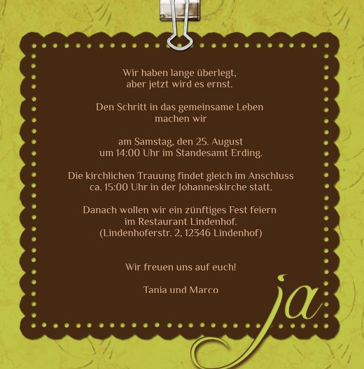 Ansicht 5 - Hochzeit Einladung Liebesnachricht