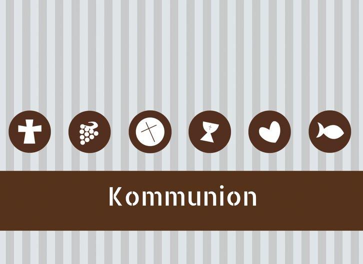 Ansicht 3 - Kommunionskarte Stripes-Buttons