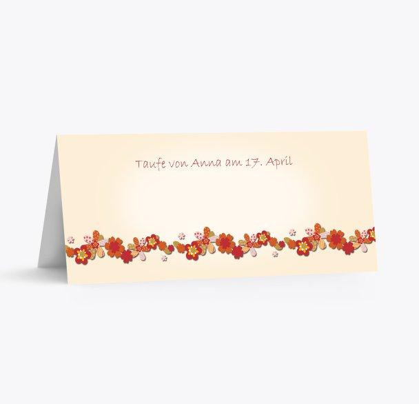 Tischkarte Blumenband