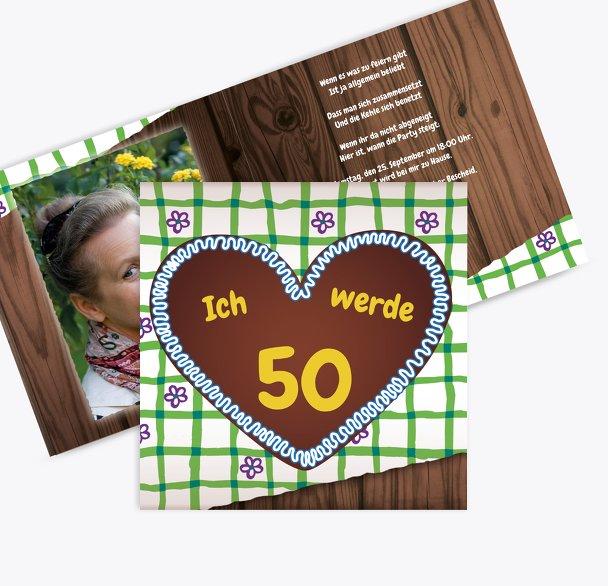 Einladung Lebkuchenherz 50 Foto