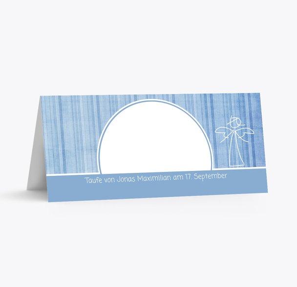 Taufe Tischkarte Streifentapete