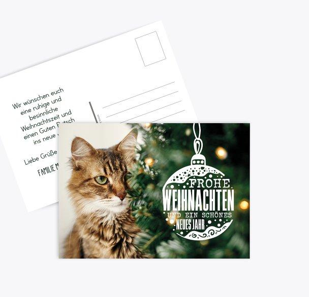 Grußkarte Weihnachtskatze