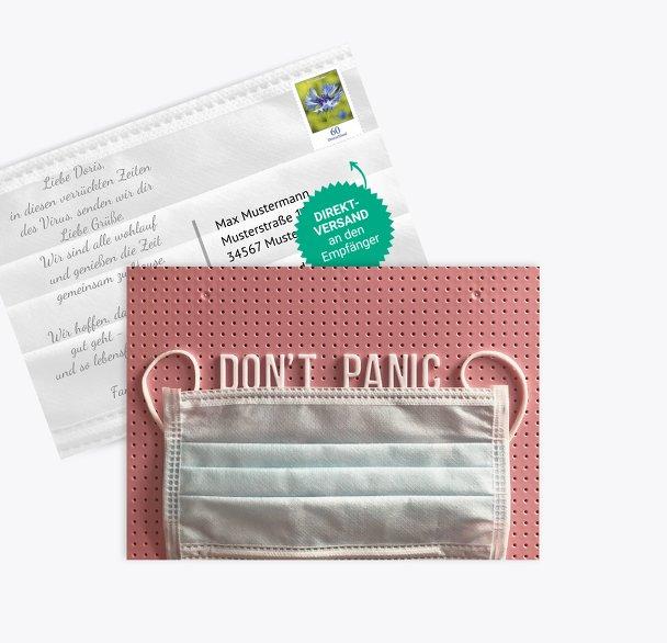 Spruchkarte Don't Panic