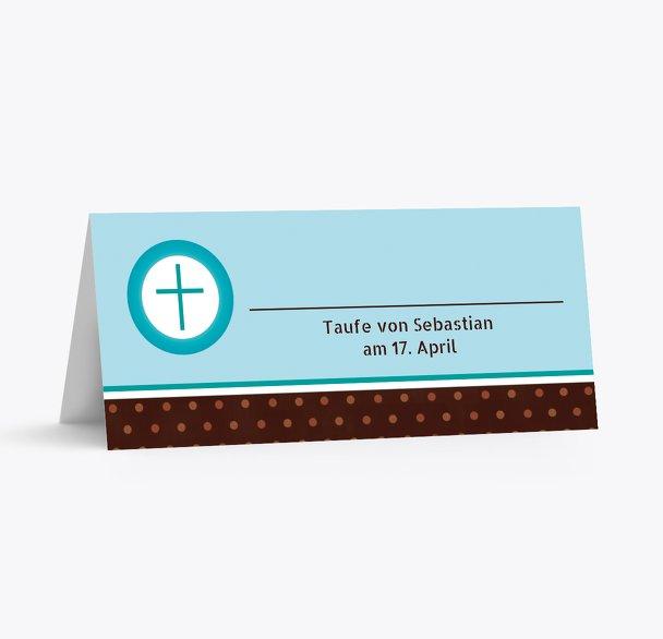 Taufe Tischkarte Kreuzhostie
