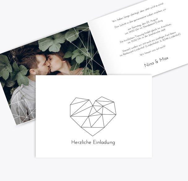Hochzeit Einladung straight heart