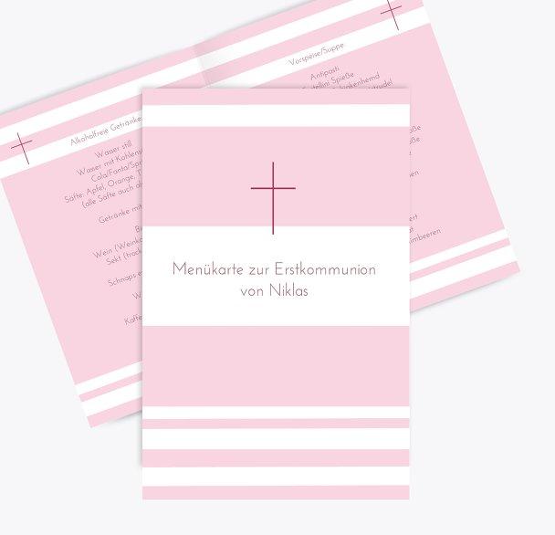 Menükarte zur Kommunion Kreuz