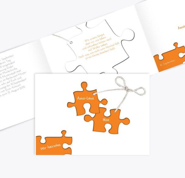 Hochzeit Einladung Puzzleteile 2