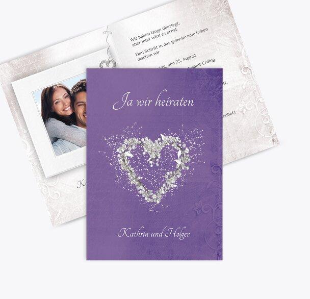 Hochzeit Einladung glamour heart