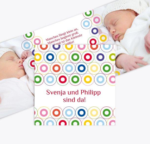 Geburtskarte Zwillinge bunt