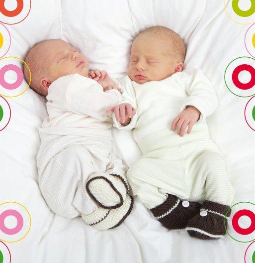 Ansicht 3 - Geburtskarte Zwillinge bunt