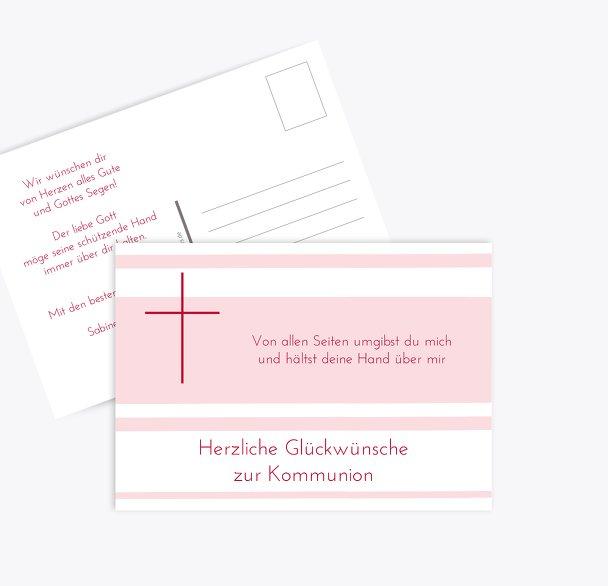Glückwunschkarte zur Kommunion Kreuz