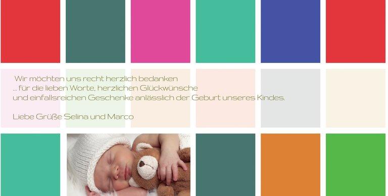 Ansicht 6 - Baby Dankeskarte bunte Würfel