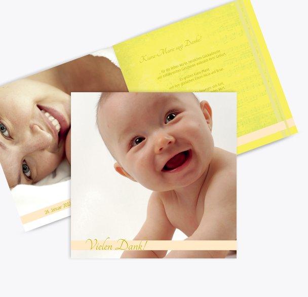 Baby Dankeskarte klangvolle Streifen