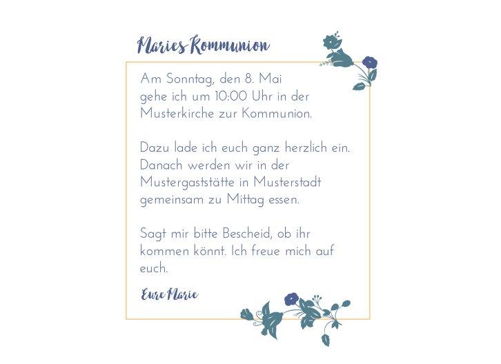 Ansicht 5 - Kommunion Einladung Blumenkranz