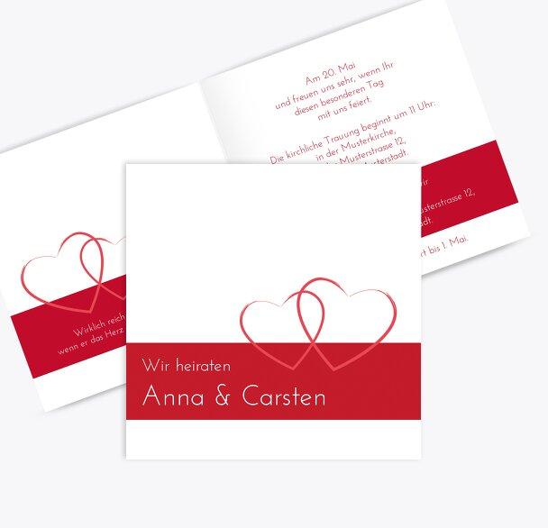 Hochzeit Einladungskarte Herzensband