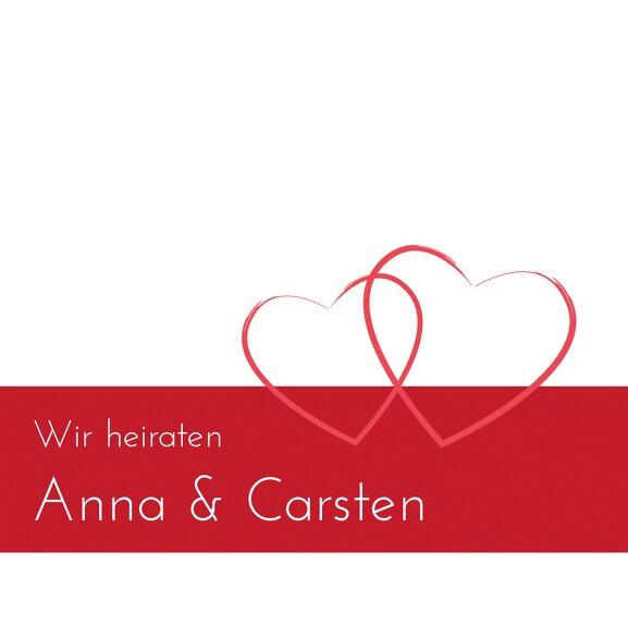 Ansicht 3 - Hochzeit Einladungskarte Herzensband