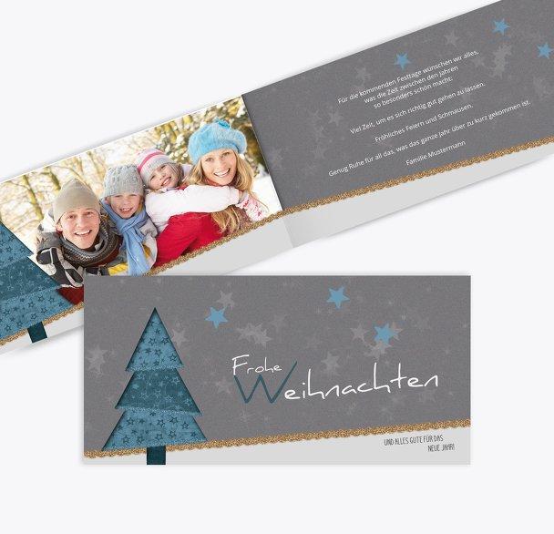 Weihnachtstgrußkarte Foto Farbbäumchen
