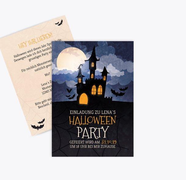 Halloweenkarte Gruselschloss