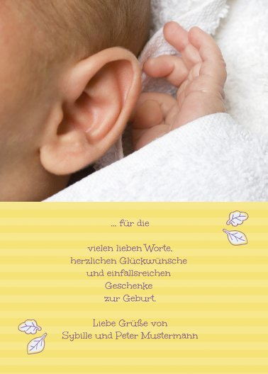 Ansicht 3 - Baby Dankeskarte Grid