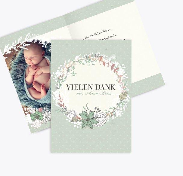 Baby Dankeskarte Vintage Blumenranke