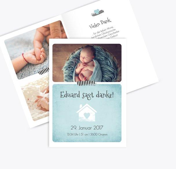 Baby Dankeskarte Häuschen